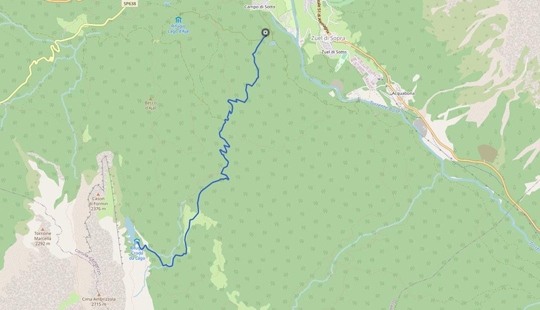 Mappa da Campo al rifugio Croda da Lago