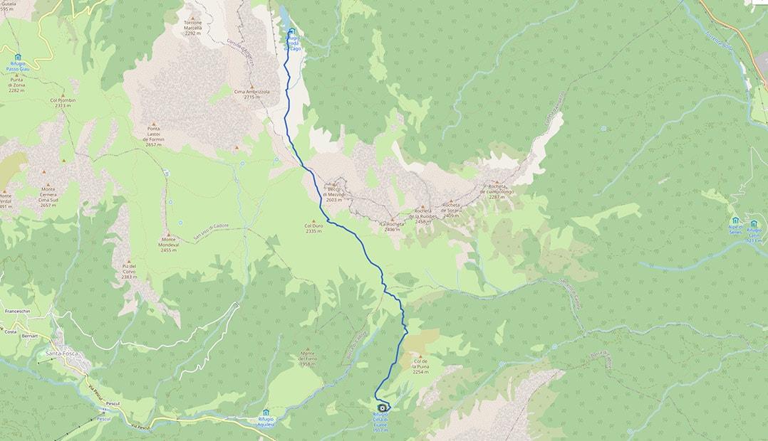 Mappa dal rifugio Croda da Lago al Città di Fiume