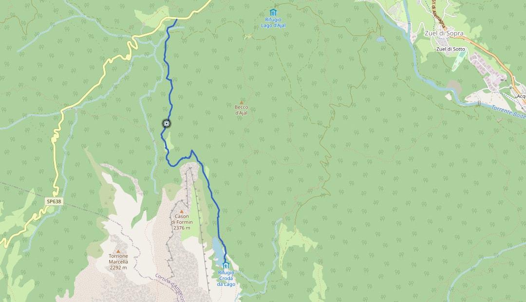 Mappa da Pezié de Parù al rifugio Croda da Lago